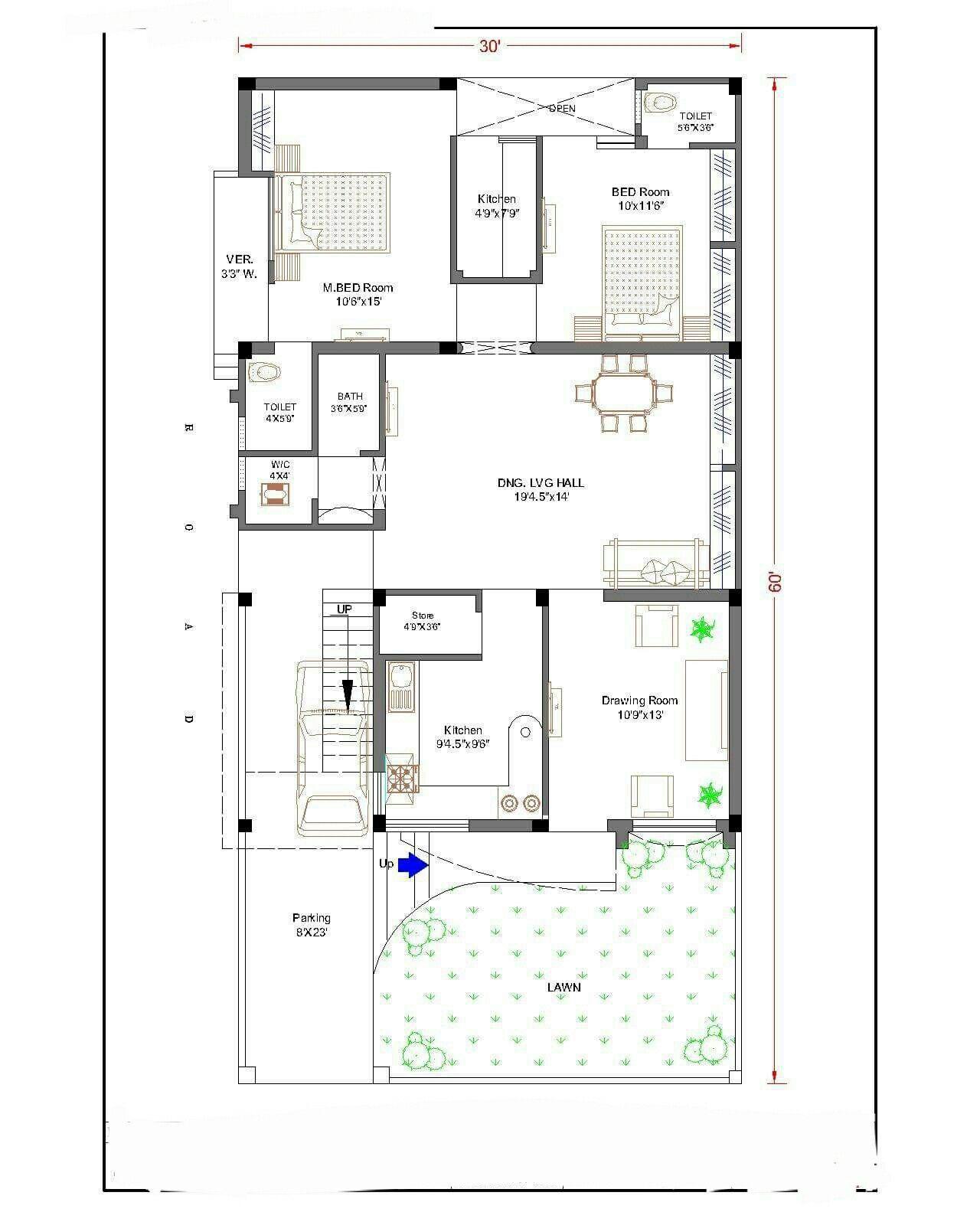 A Plan For Plot Size 30\' * 60\' sqr feet | A1 | Pinterest
