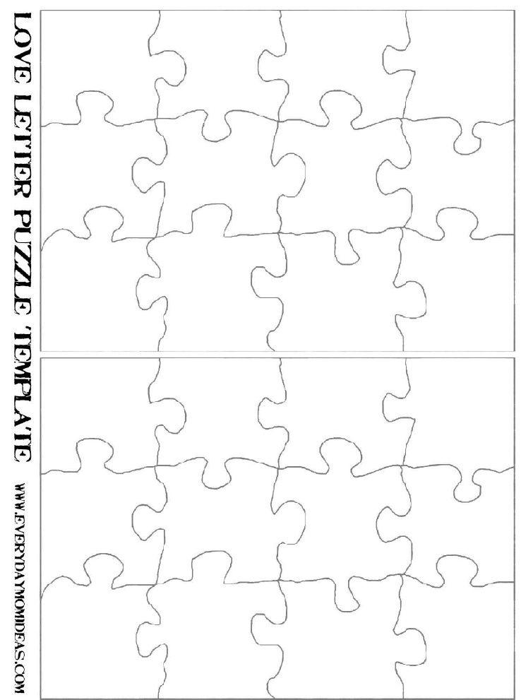 Love Note Puzzle Template Puzzle Piece Crafts Puzzle Piece