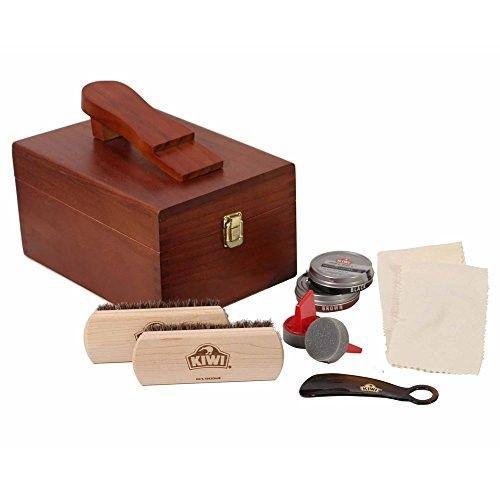 Kiwi Select Shoe Shine Care Kit Valet II Wooden Box w// 10 pc Content