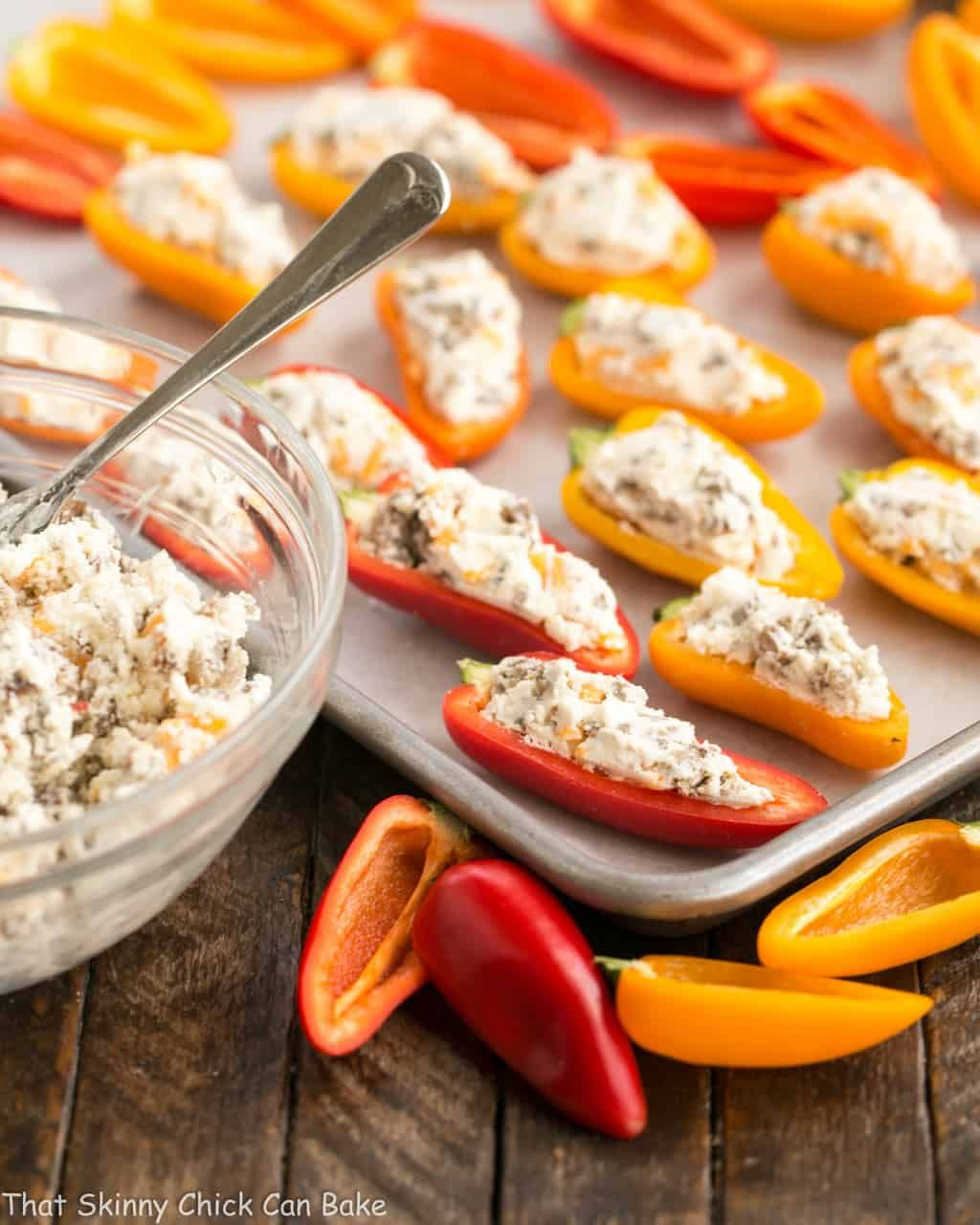 Cream Cheese Sausage Stuffed Mini Peppers Recipe Stuffed Mini Peppers Stuffed Peppers Stuffed Sweet Peppers