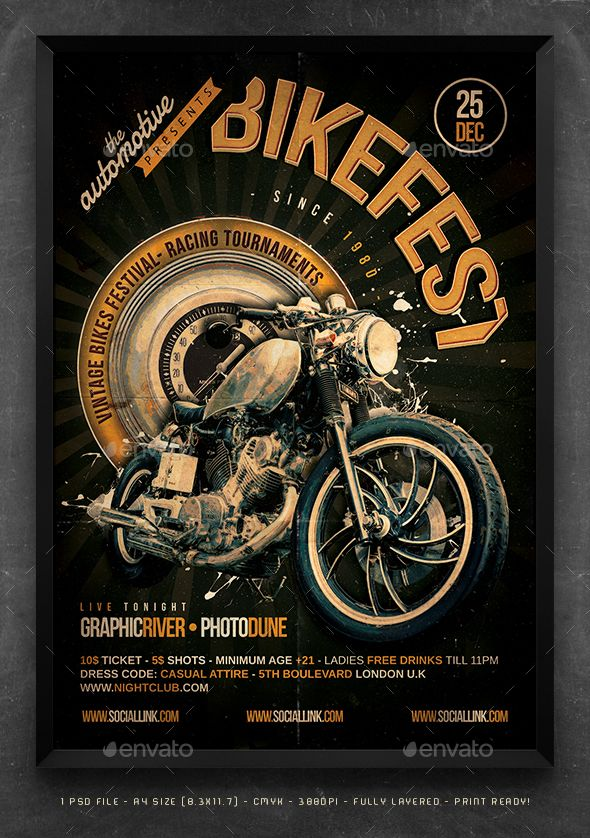 psd flyer poster template is designed to promote a bike motorcycle motorbike show
