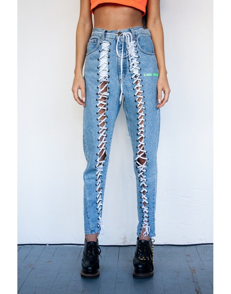 Lace up Mom Jeans