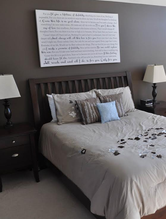 beautiful bedroom loving the idea of printing your wedding vows on canvas and displaying it - Ly Design Your Bedroom