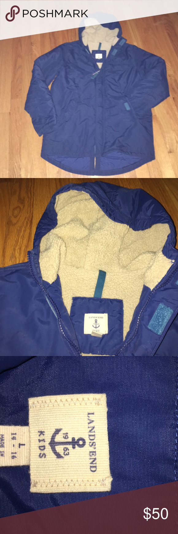 Like new lands end boys ski jacket, size large Like new boys ski jacket. Royal blue. Size large, 14-16. Fleece lined and water resistant!  Great for Skiing.  Check out the matching ski bib and Sorel boots.  Will bundle! Lands' End Jackets & Coats Puffers