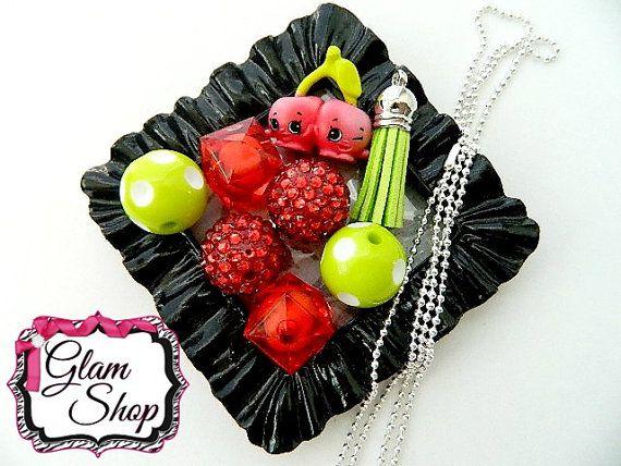 Shopkins Season 4 CHEEKY CHERRIES Red Bubblegum By GlamShopBeads