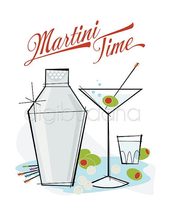 Retro Martini Time Wall Art Poster Vintage Word Kitchen 8x10 Mid Century