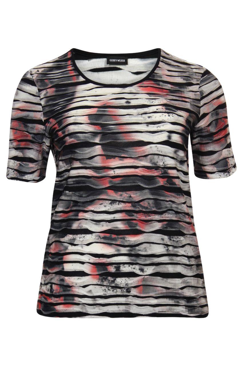 Stijlvolle T-shirt van Gerry Weber in absolute modetinten, cognac, ecru zwart! Online bestelbaar via www.NR4.be Nr4 uw speciaalzaak in grote maten