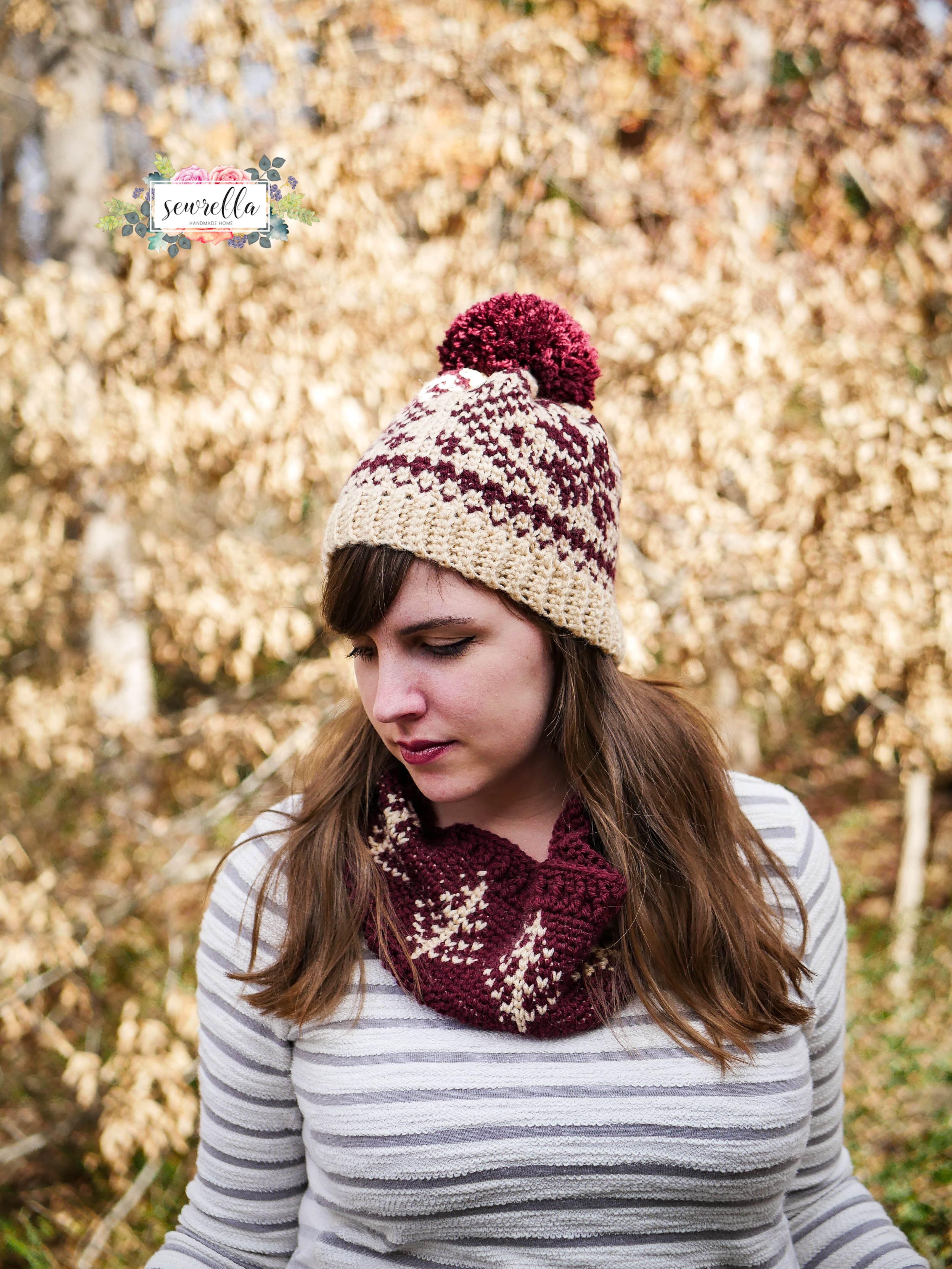 Faux Knit Fair Isle Crochet Toque & Cowl | Gorros