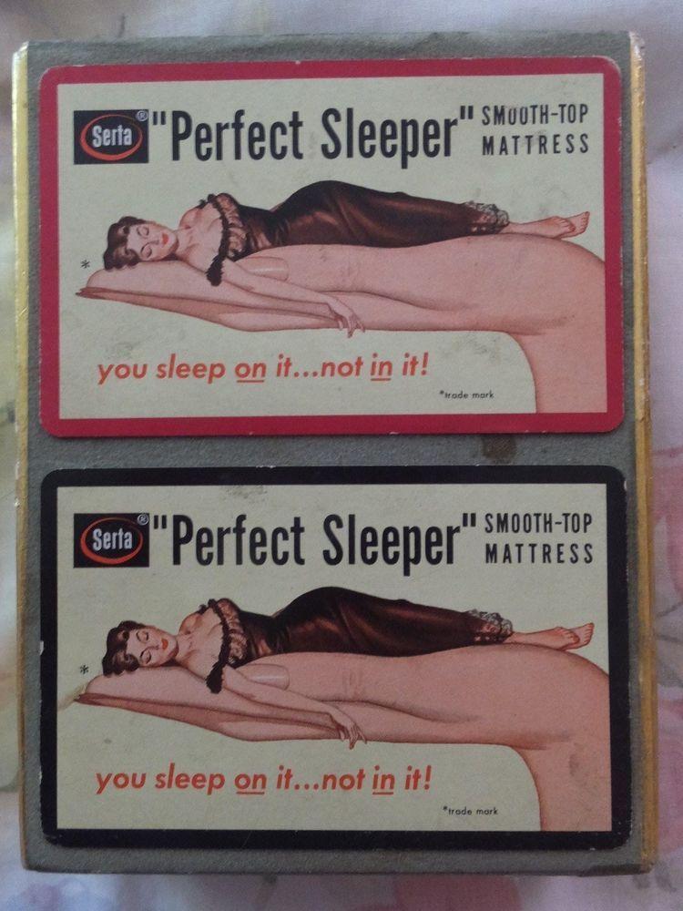 VINTAGE SERTA PERFECT SLEEPER MATTRESS PIN UP GIRL 60 BOXED PLAYING CARDS
