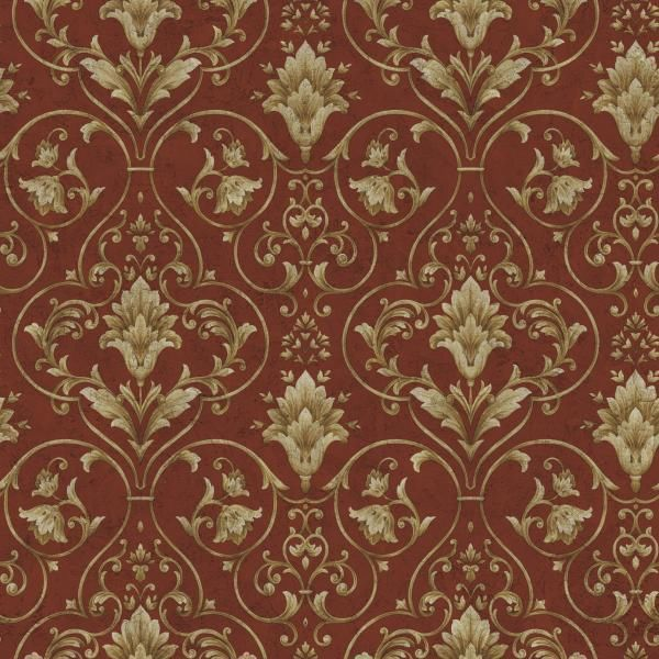 WALLPAPER SAMPLE Red And Gold Victorian Scroll