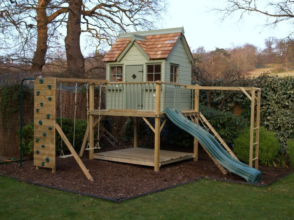 Childern garden playhouse with slide and swings garden How to build outdoor playhouse