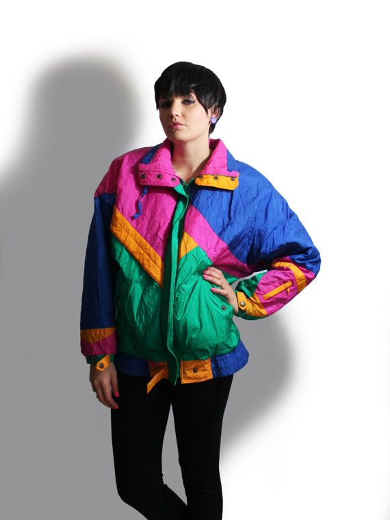 Puffy Ski Jacket 80 S 90 S Colorful Winter Outerwear Pink