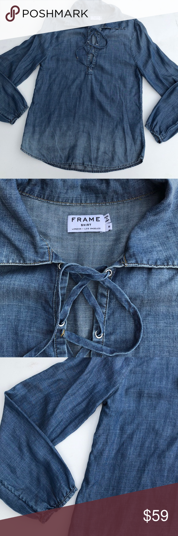 8669ea272fd4 Frame chambray denim Hadley long sleeve shirt Gorgeous chambray denim Hadley  shirt by frame! Features