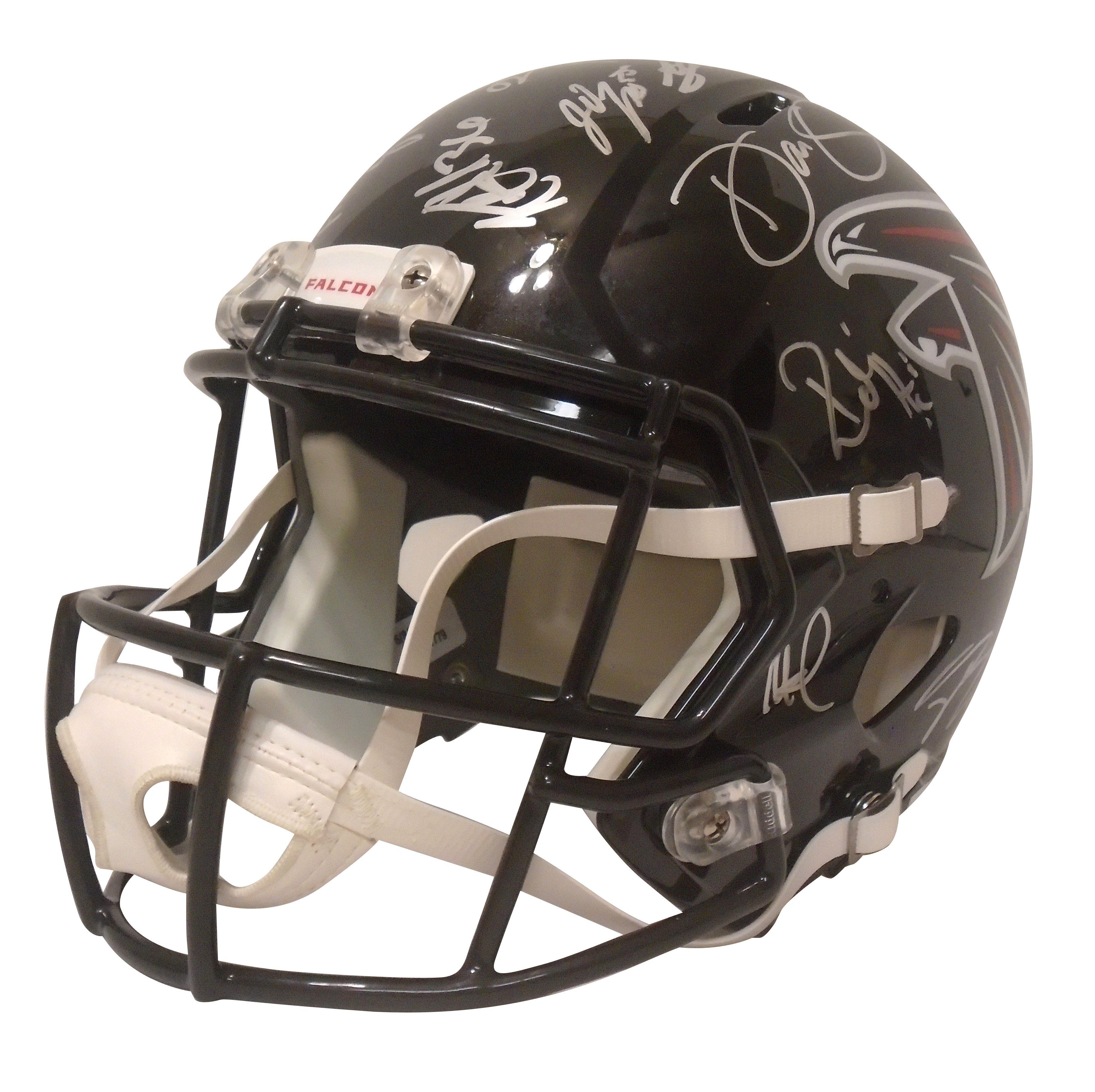 This Is A Brand New 2017 Atlanta Falcons Team Signed Riddell Full Size Deluxe Replica Speed Style Footbal Football Helmets Atlanta Falcons Team Devonta Freeman