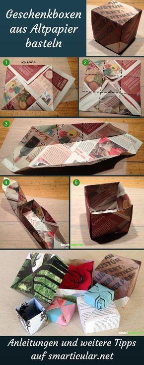 Schenken ohne Verpackungsmüll: Faltschachtel aus Altpapier #recyclingbasteln