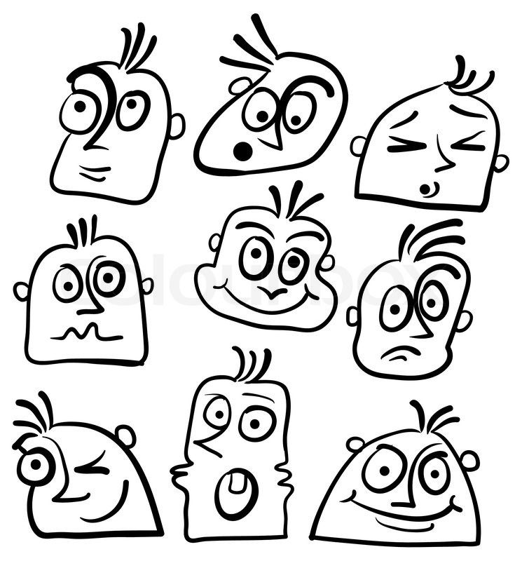 Image result for crazy face, black and white | Cartoon ...
