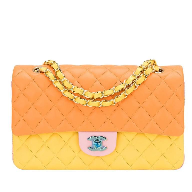9000bb7ca7fe53 Chanel Tri-Color Quilted Lambskin Medium Classic Double Flap Bag ...