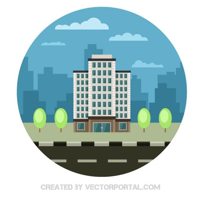 Big building in a city |  Free vector image in AI and EPS format, Creative Commons license.