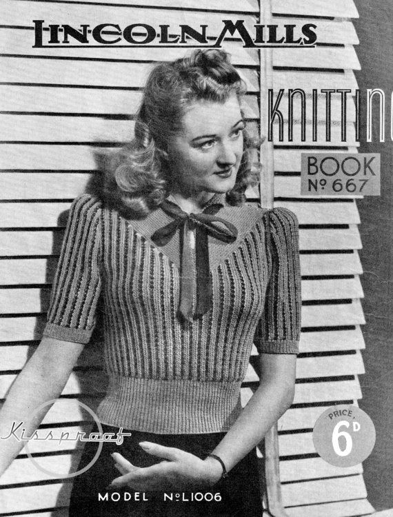 Vintage 40's knitted Sweater PDF Pattern  WWII by kissproof