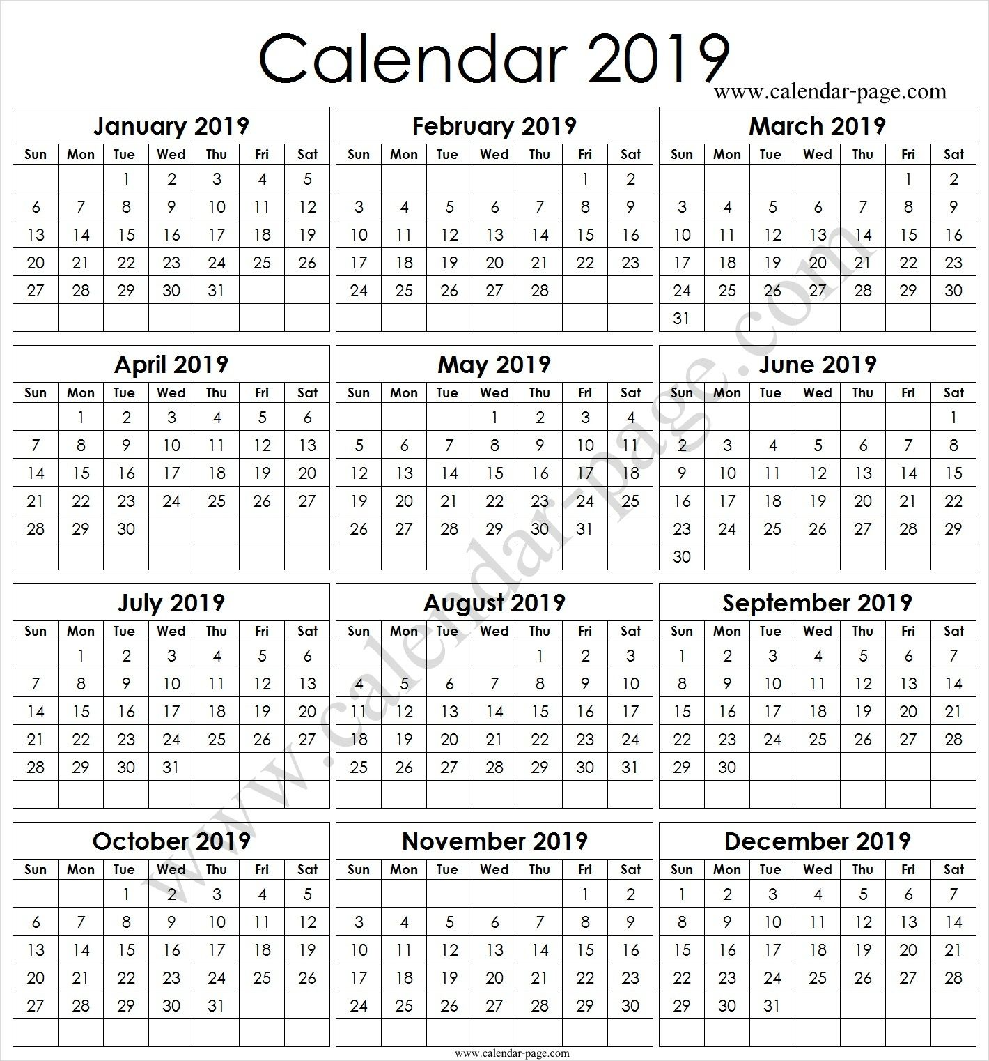 2019 yearly calendar template vertical