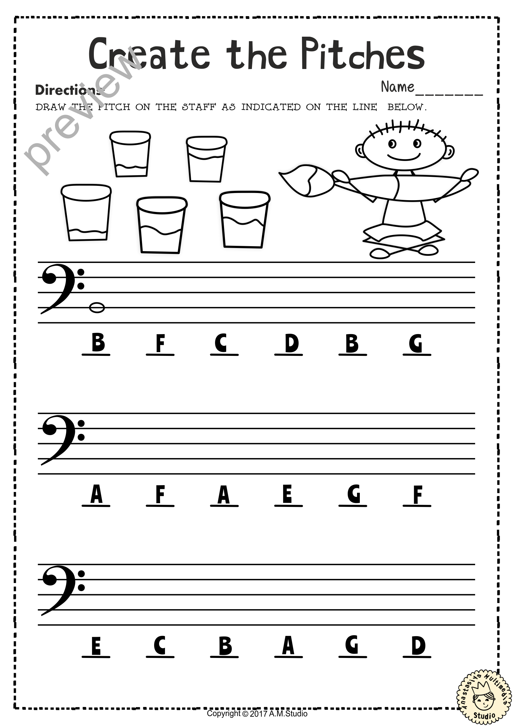 Back To School Bass Clef Note Naming Worksheets With