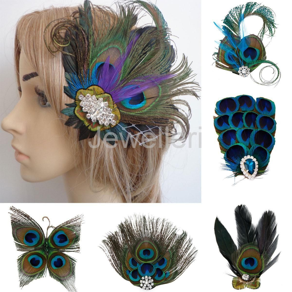 Vintage Peacock Feather Fascinator Hair Clip Wedding Dance Party Bride Headpiece