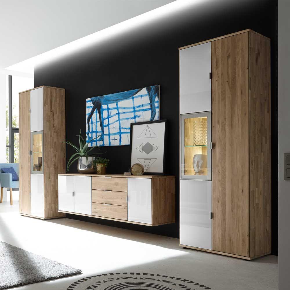 Wohnzimmer Wohnwand Aus Wildeiche Massivholz Weiß Glas (3 Teilig)  Wohnzimmerschrank,wohnwand,