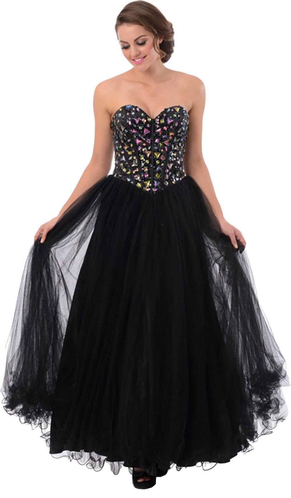 Corset gem prom dress ball gown