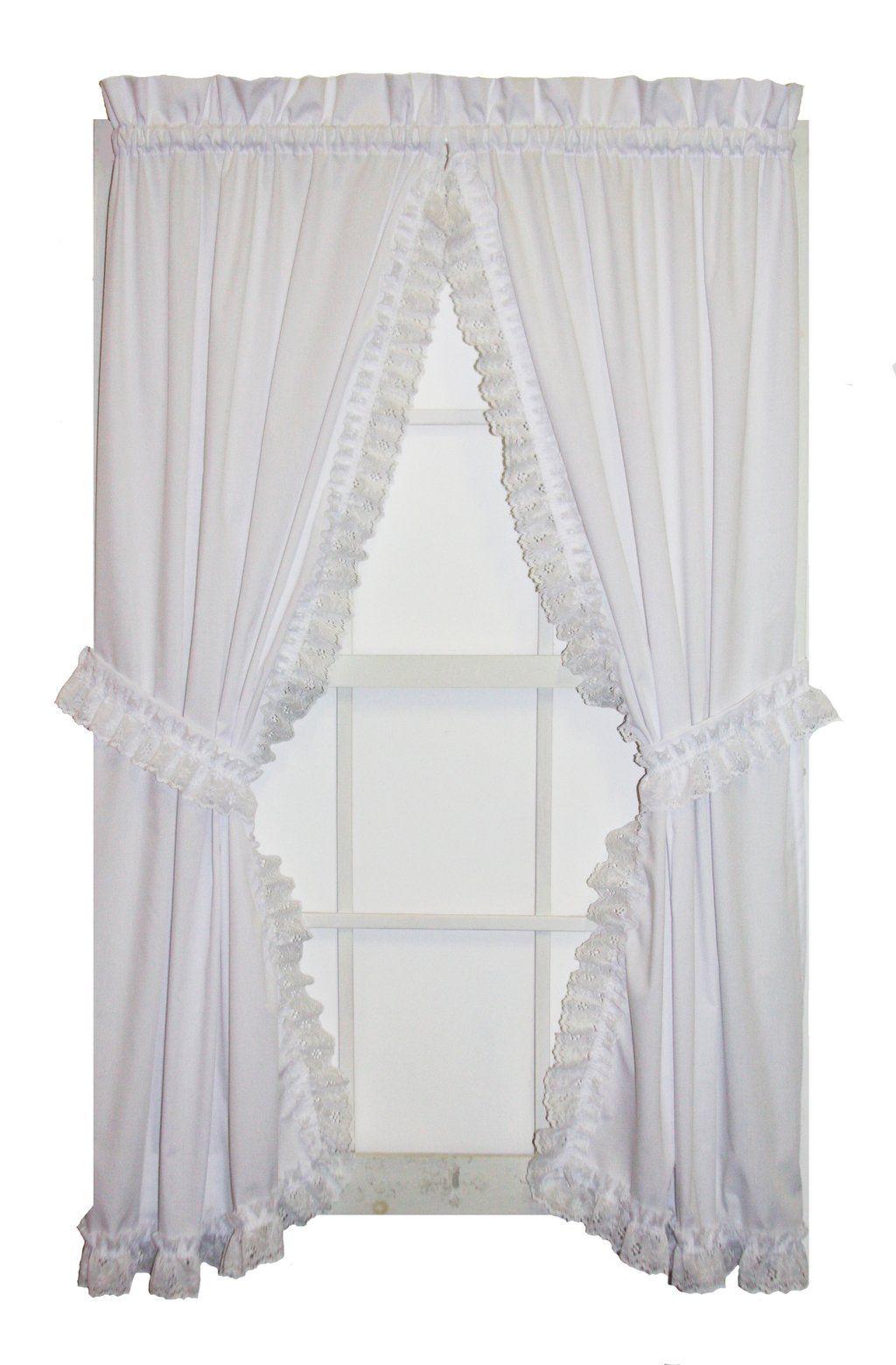 Cape Cod White Lace Ruffled Priscilla Window Curtains With Tie