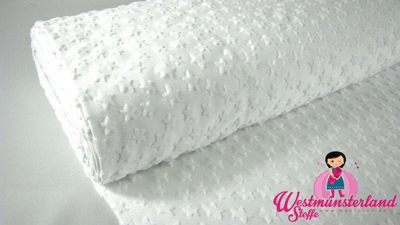 0,5mtr Baumwolle Jersey Stoff mit FROTTEE STERNE WEISS R75