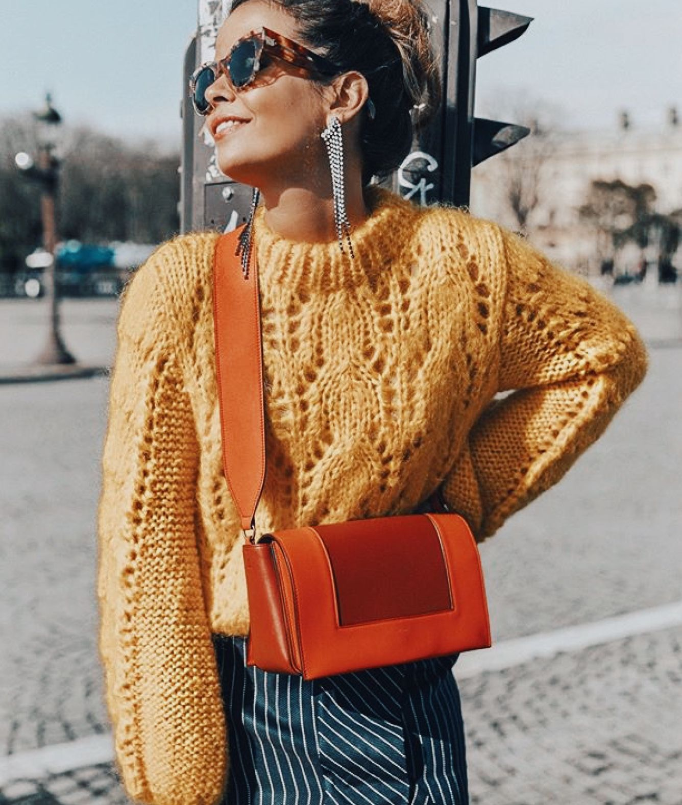 Yellow knit sweater, orange and red crossbody bag, yellow sweater and red  bag combo, knitted sweater, pop of re… | Yellow knit sweater, Fashion, Knit  sweater outfit