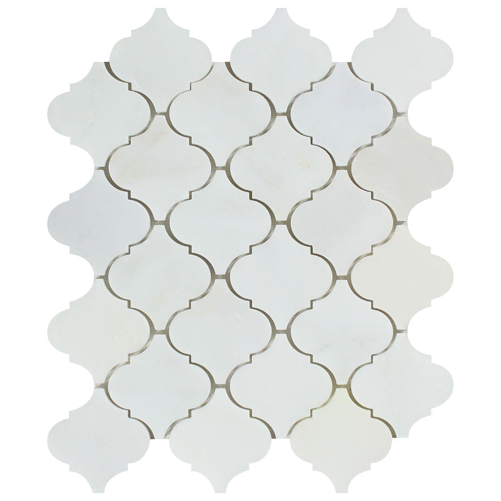 Oriental White Asian Statuary Marble Polished Lantern Arabesque Mosaic Tile Arabesque Mosaic Tiles Mosaic Tiles Mosaic