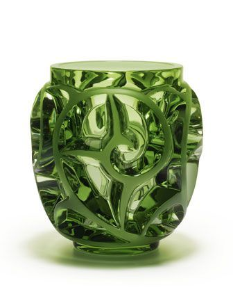 Lalique Tourbillons Limited Edition Green Vase Blown Glass