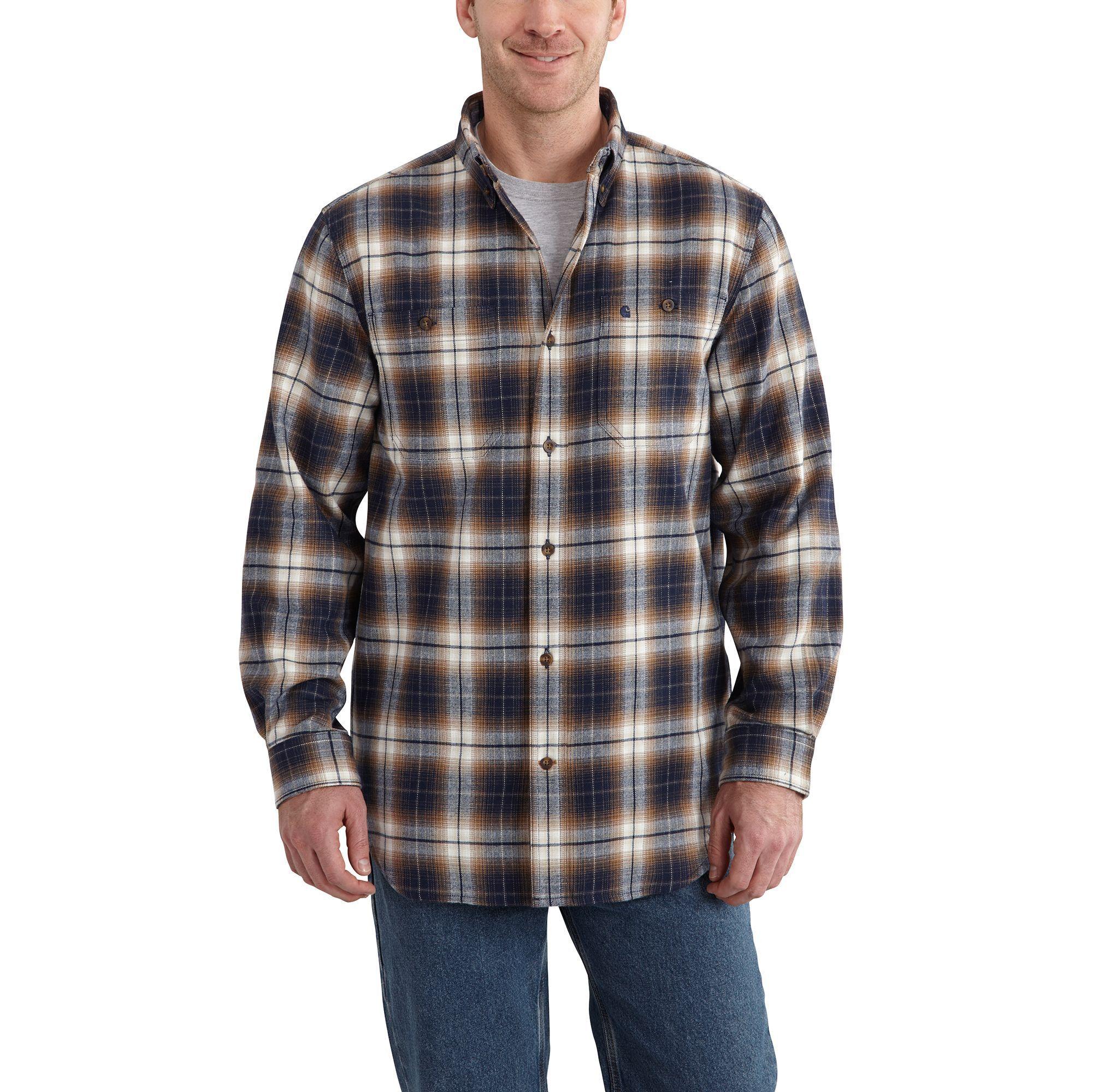 Carhartt Mens Trumbull Plaid Shirt 101295 Navy