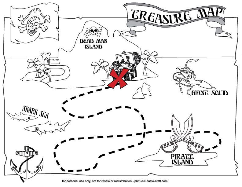 graphic about Printable Pirate Maps called A printable treasure map for children! Arts and Crafts for