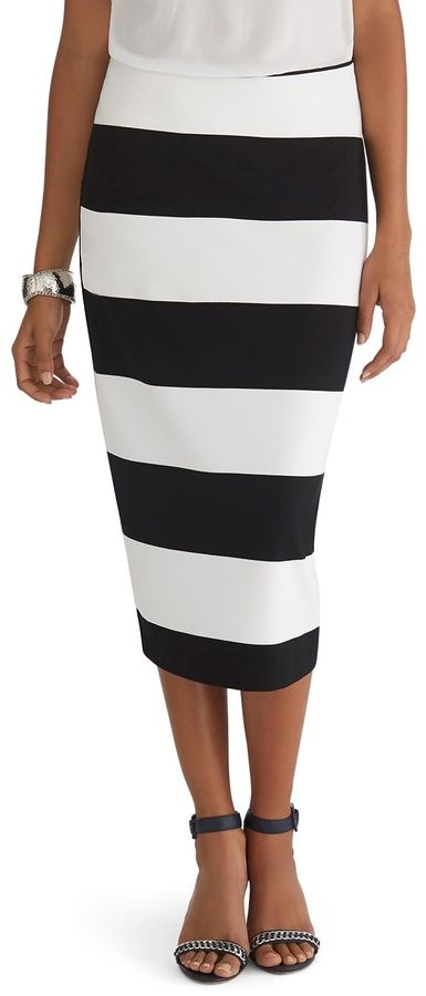 f1ed619dc0 White House Black Market Stripe Knit Midi Pencil Skirt on shopstyle.com