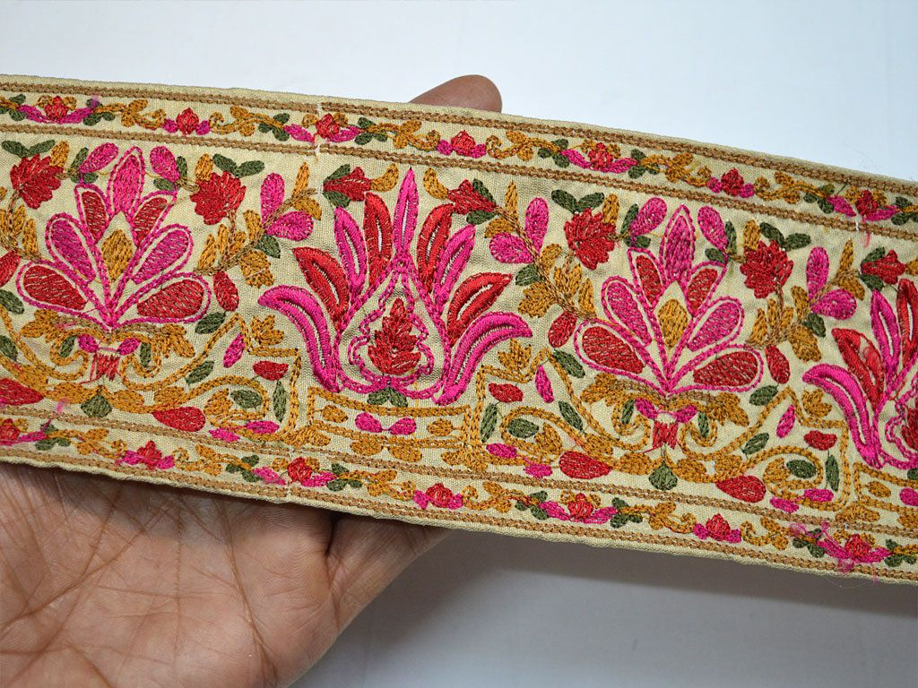 Decorative Crafting Ribbon Trims Embroidered Sewing Trim Indian Sari Border Trimmings Fabric Trim By The Yard Costume Lace Sewing Trim Fabric Trim Dress Tape
