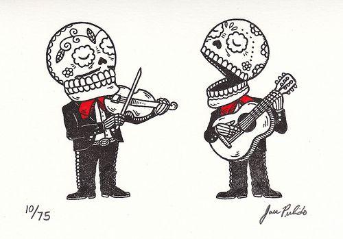 Mariachi Calaveras Gocco Print Craneos Mexicanos Calaveras Dibujos Dibujo Dia De Muertos