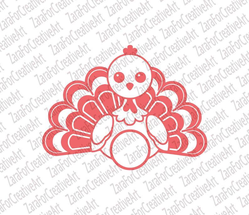 Turkey Monogram svg Turkey Silhouette svg Thanksgiving Svg