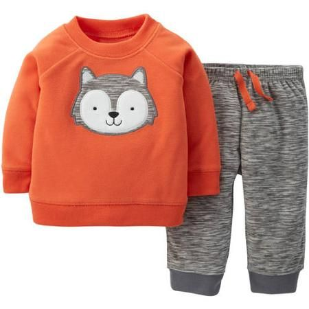 f02547bf9 Child Of Mine by Carter's Newborn Baby Boy Fleece Top and Pants Outfit Set  - Walmart.com