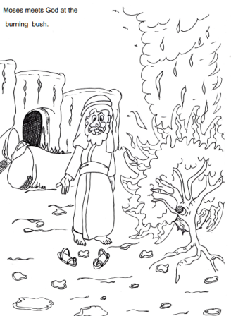 Moses And The Burning Bush Sunday School Coloring Pages