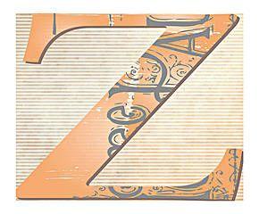 Alfombra vinílica letra Z con fondo de periódico antiguo