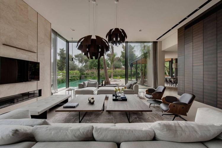 Wandfarbe Hellgrau im minimalistischen Stil - Luxus Haus - wohnzimmer luxus design