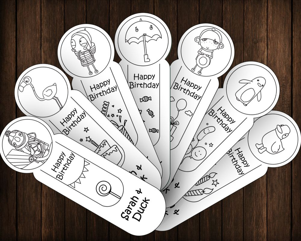 Sarah And Duck Happy Birthday 7 Coloring Bookmarks DIY Party Favors ...