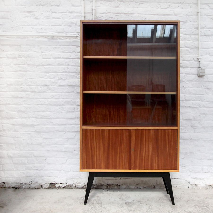 Alfred Hendrickx; Wood and Glass Cabinet, 1950s.