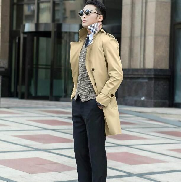 4cf59300be6 New designer slim trench coat men overcoat long sleeve mens clothing  business outerwear black blue brown beige