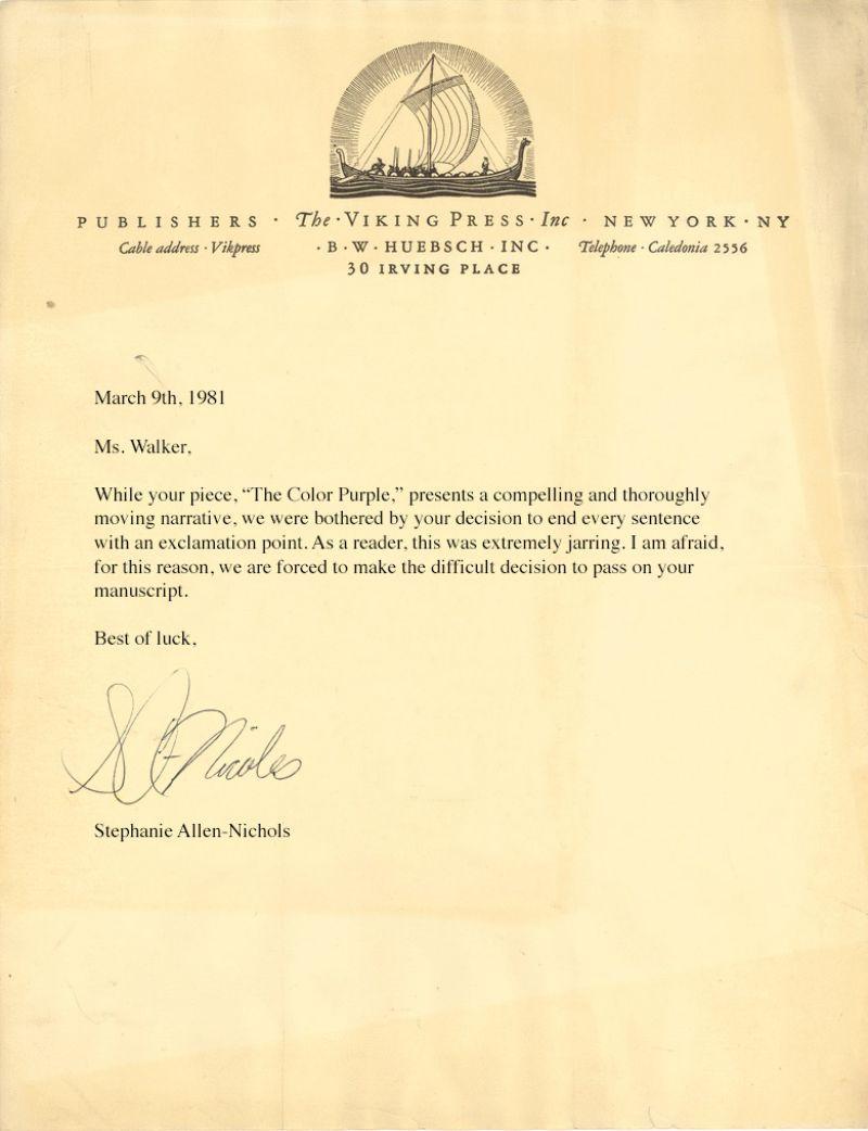 Image Alice WalkerS Rejection Letter For Her Novel The Color