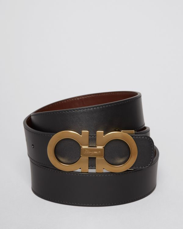 Salvatore Ferragamo Smooth Leather Double Gancini Belt  fe242b69db61