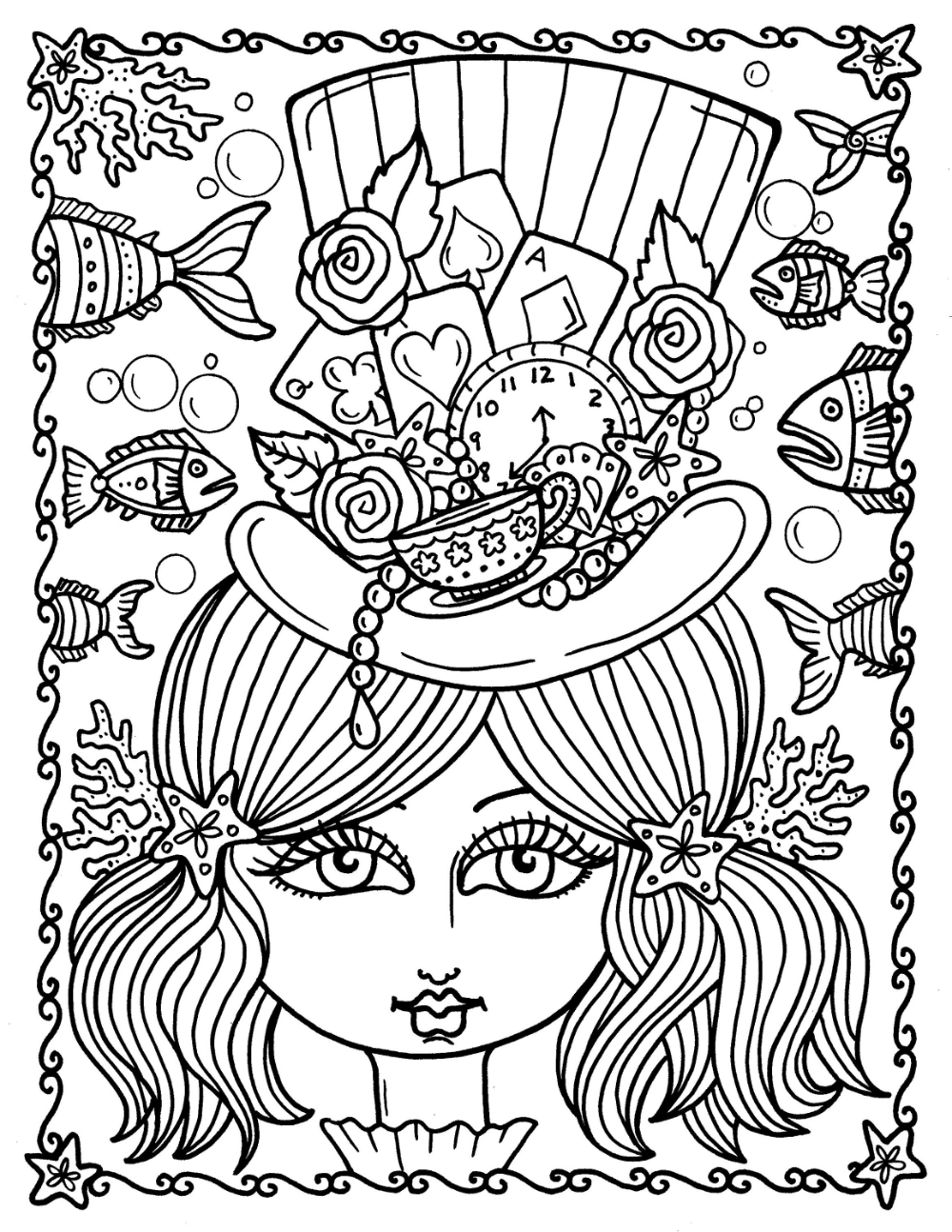 Digital Coloring Book Instant Download Alice In Waterland Etsy Coloring Books Love Coloring Pages Star Coloring Pages