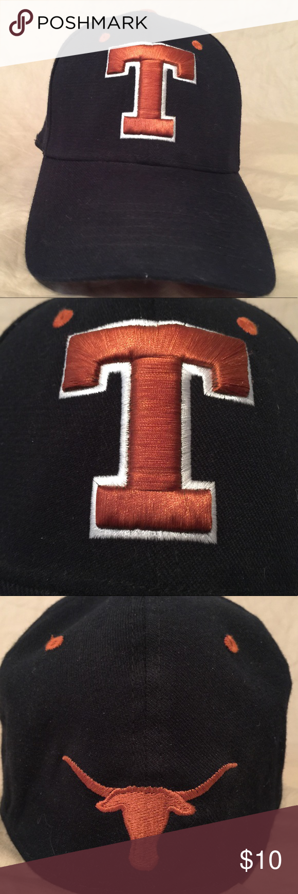 5671456fecf7f Texas Longhorns Ball Cap Black in color with burnt orange and white  Embroidery. This is